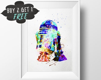 Star Wars R2-D2 Art Print Poster, Star Wars Wall Art Nursery Decor Printable Watercolor Instant Download, Star Wars Art Print, Star Wars Art