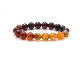 Orange Ombre Bracelet/ Ombre Agate Bracelet/ Orange Carnelian Bracelet/ Orange Gemstone Bracelet/ Amber Bracelet