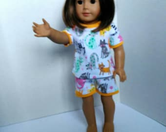 """18"""" doll pajamas made to fit like American girl doll clothes, kitty cat pajamas, summer pajamas for dolls such as American girl and others"""