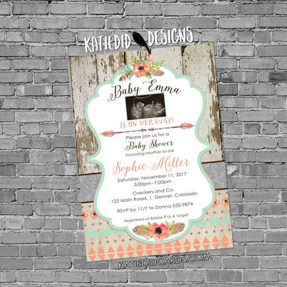 sonogram pregnancy announcement boho baby shower tribal invitation mint coral invite surprise gender reveal floral 1445c Katiedid Designs