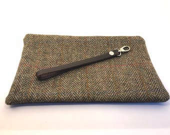 Traditional Harris Tweed and Leather Clutch Bag - handmade tweed & leather bag,  everyday/evening bag, Personalised Clutch, Mothers Day Gift