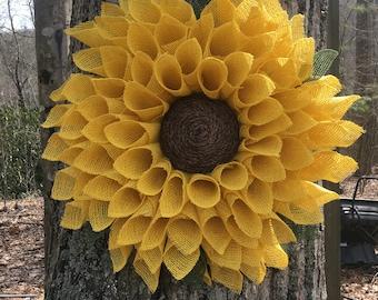 Sunflower Wreath, Yellow Burlap Wreath, Burlap Flower Wreath, Spring Wreath, Summer Wreath, Fall Wreath, Front Door Wreath, Sunflower Decor