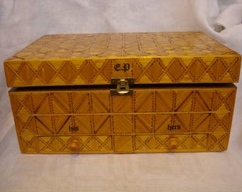 Vintage Wooden Box Made  from Matchsticks
