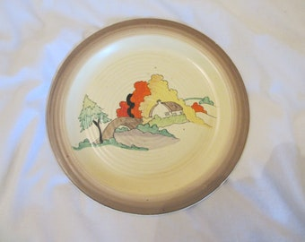 Rare Clarice Cliff,Lorna pattern Plate,  c1936 original art deco, vgc