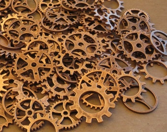 40g Antiqued Copper GEARS ONLY 1/2-1 Inch Medium to Large NeW CLoCK Watch Style STEAMPUNK Wheels Cogs Parts Pieces