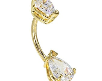 Double Pear Shape CZ Solid 14K Yellow Gold Belly Rings