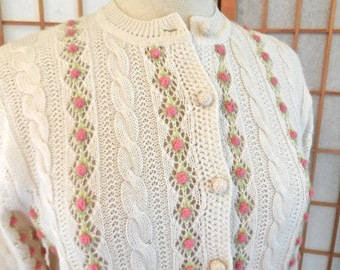 Sale Vintage 60s Cardigan Knit Sweater in Cream with Rows of Crochet Rosettes