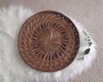Boho Wall Basket, Vintage Rattan Basket, Woven Tray, Bohemian Modern, Boho Chic Wall Decor