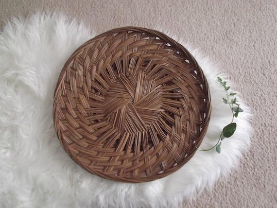 Vintage Rattan Basket Woven Tray Bohemian Modern Decor