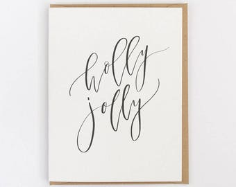 holly jolly greeting card