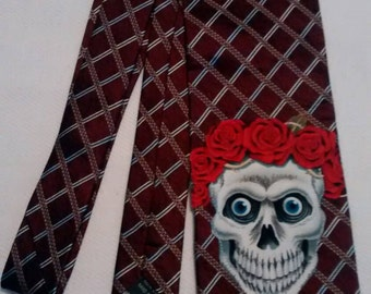 Skulls and roses and burgundy necktie