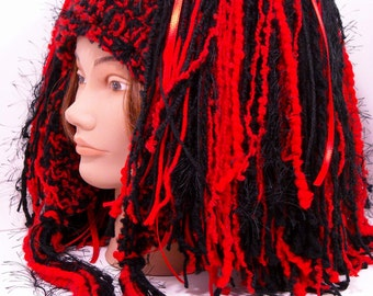 Red and Black Hair Fall Hat, Removable Yarn Hair Falls - CLEARANCE SALE, Burning Man Gear