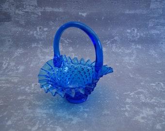 Blue Glass Hobnail Basket