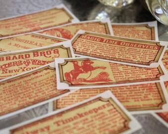 Vintage Newspaper Sticker Tickets Set of 12