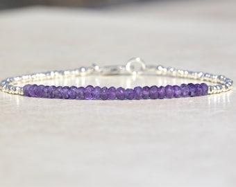 Amethyst Bracelet, Amethyst Birthstone Bracelet, February Birthstone, Beaded Gemstone Bracelet, Gifts for Her, Hill Tribe Sterling Silver