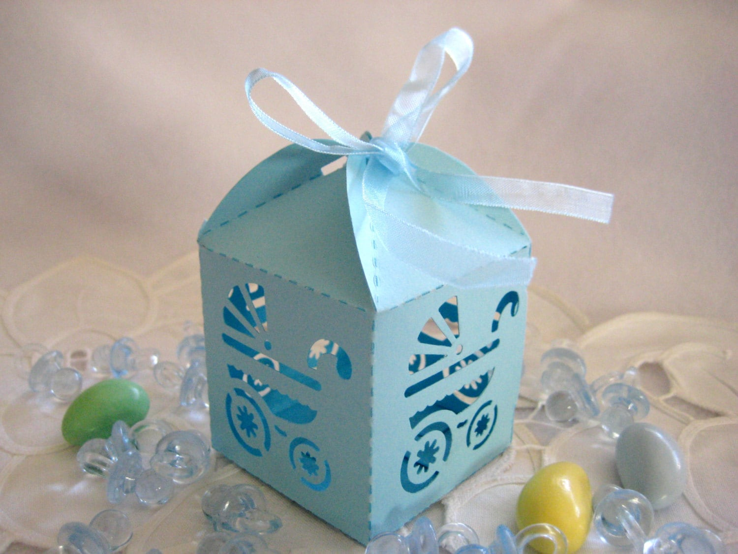 Blue Baby Boy Carriage Party Favor Boxes For Baby Boy Baby