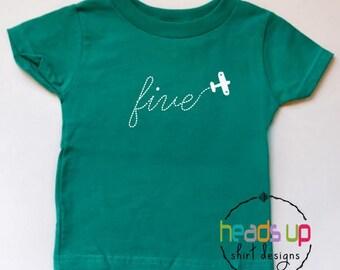 Fifth Birthday Shirt Toddler Boy/Girl - Airplane Five tshirt Birthday - 5th Bday Tee Airplane - 5 Birthday tshirt Plane - Trendy Five Gift