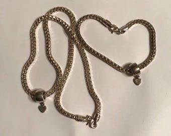 """Vintage Sterling Silver 18"""" Necklace & 8"""" Matching Bracelet"""