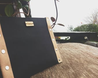 Eco friendly clutch, black cotton clutch, iPhone case, washable paper clutch, black handbag, handmade red clutch, recycled leather clutch