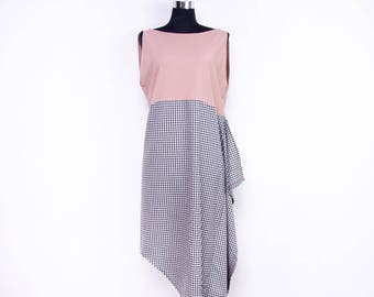 Checkered maxi dress - Vichy checkered dress - Color block dress - sleeveless maxi dress - loose asymmetrical dress - loose dress for women