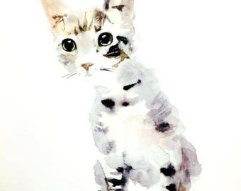 Custom cat portrait - watercolor painting. Pet art commission. Unique gift for cat or dog lovers. Cute animal drawing, watercolour wall art