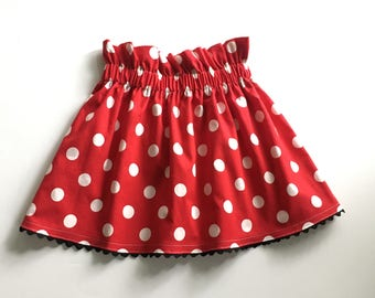 Girl's Red or Pink Polka Dot Skirt, Toddler Birthday Skirt, Custom Skirt, High Waisted Skirt, Birthday Party Skirt, Mouse