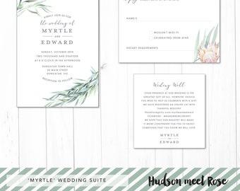 Printable - The 'Myrtle & Edward' Australian Eucalyptus Wedding Suite | Invitation | RSVP | Registry Card | Watercolour | Rustic