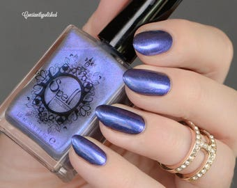 Heaven's Door SPELL iridescent BLUE VIOLET top coat shimmery nail polish!