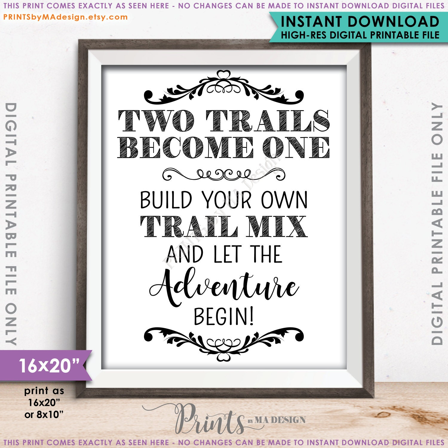 Trail Mix Bar Sign, Two Trails Become One, Wedding Treat Sign ...