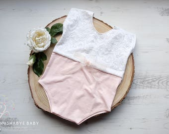 Pink & White Lace Girls Sitter Romper, Photography Prop, Baby photos, Milestone, OOAK, RTS, UK Seller