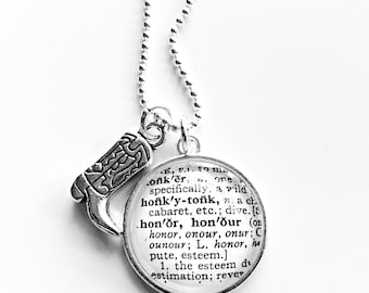 Honky Tonk Definition Charm Necklace - Honky Tonk - Nashville Travel - Country Music