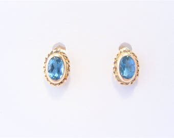 Vintage 10K Blue Topaz Stud Earrings Oval