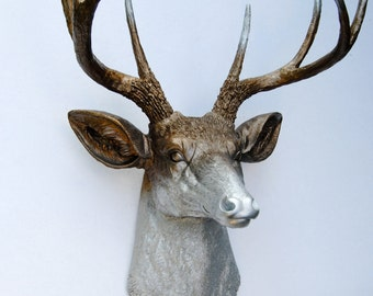 Ombre Deer Head Decor - Faded Metallic Bronze and Silver  - Deer Head Antlers Faux Taxidermy Wall Mount D0910