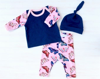 Baby Girl Take Home Outfit - Girl Going Home Outfit - Baby Going Home Set - Baby Coming Home Outfit - Baby Girl Layette - Newborn Girl Set