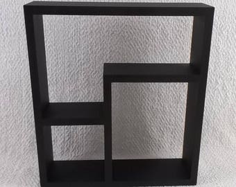 Wood Curio Wall Shelf Display 3 or 4 Shelves Black Waxed Modern Contemporary
