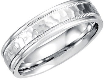 Hammered 14K White Gold 5MM Flat Mens Brushed Wedding Band Ring Size 7-12