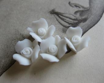 4 PC Snow White Porcelaine Flower Cabochon / German Bisque - 8mm