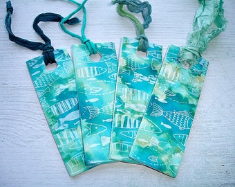 1 Turquoise Fish Pattern Handcrafted Bookmark