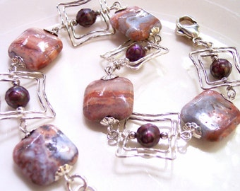 Southwest style Banded Jasper Bracelet, Gift for Her, Sterling Silver Bracelet, Denim Blue, Chili Oil Russet Pearls