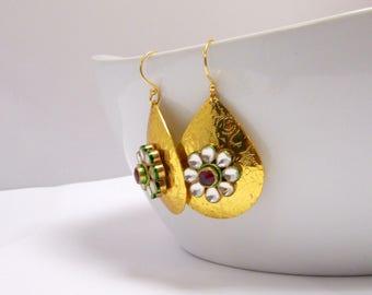 Beautiful Gold and Kundan Tear Drop Statement Earrings