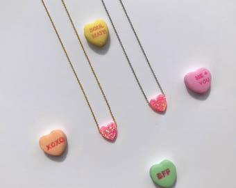 Sterling Silver & Gold - Valentine's Day Pink Opal Heart - Dainty Necklace