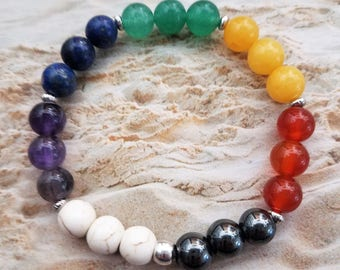 Handmade Chakra Bracelet Featuring Three of Each of the Seven Chakra Gemstones on a Stretchy Cord