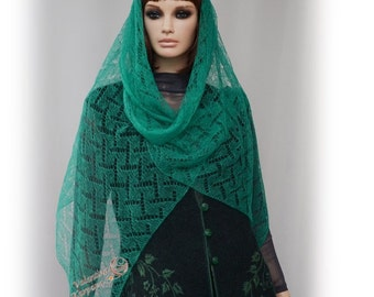 Knitted stole Lace stole Green stole Green shawl Stole mohair Fine tippet Mother's Day Shawl head Gift KnittedVestSkirt