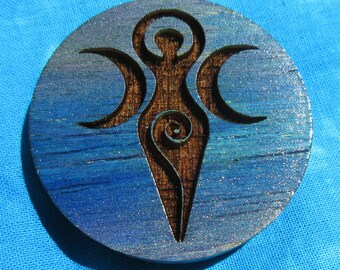 Wooden Pin/Button: Triple Goddess