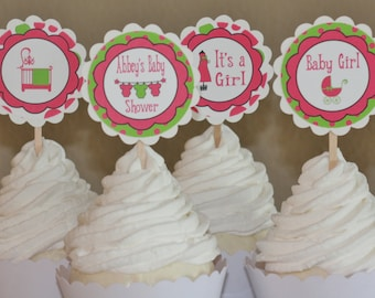 12  - Pink and Lime Green Baby Shower Girl Theme Cupcake or Cake Toppers - Ask About our Party Pack Special - Free Ship Over 65.00
