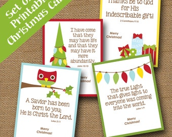 Kids Printable Christmas Cards | Cute Scripture Christmas Cards | DIY PRINTABLE | Instant Download Christmas Card | Bible Verse Holiday Card