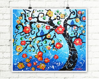 Cherry Blossom Tree Print, Blue Birds on a Branch Whimsical Art Romantic Wedding Gift for Couple