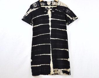 Black and Tan Strata Dyed Tshirt Dress