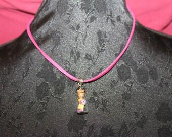 Gift hostess - crew neck tie pink vial flowers