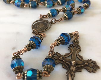 French Rosary ~ Mary Blue Crystal~ Antique Victorian Style ~ Bronze Handmade
